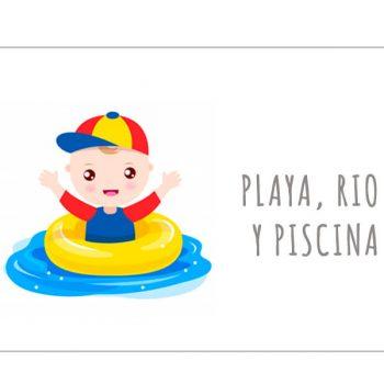 Playa, río y piscina