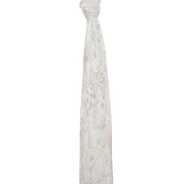 Muselina bambú Aden Anais 120x120, Featherligth flores gris